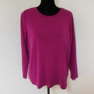 Land's End Raspberry Pink Shaped Fit Long Sleeve